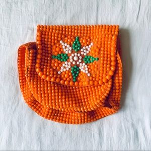 Fun, orange, beaded bag